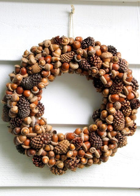 Gathered fall wreath with pinecones and acorns fall wreath