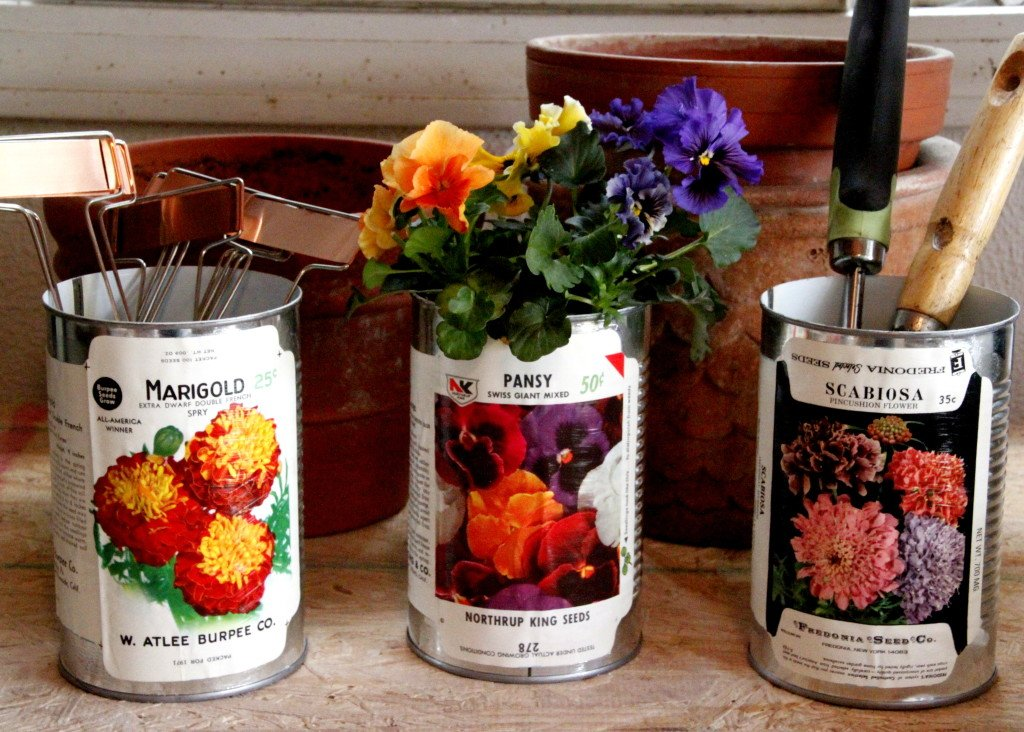 vintage seed label containers