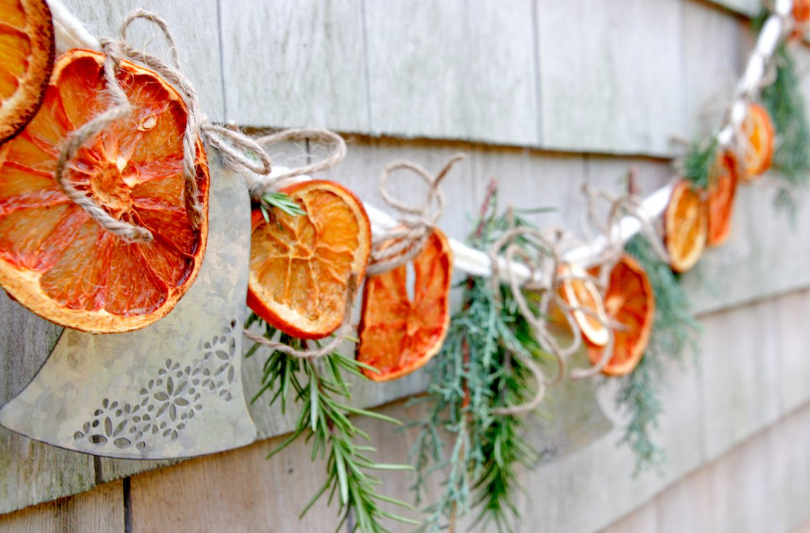 A Simple Citrus and Herb Garland DIY Craft Door Decor crafting blogger Tilly's Nest