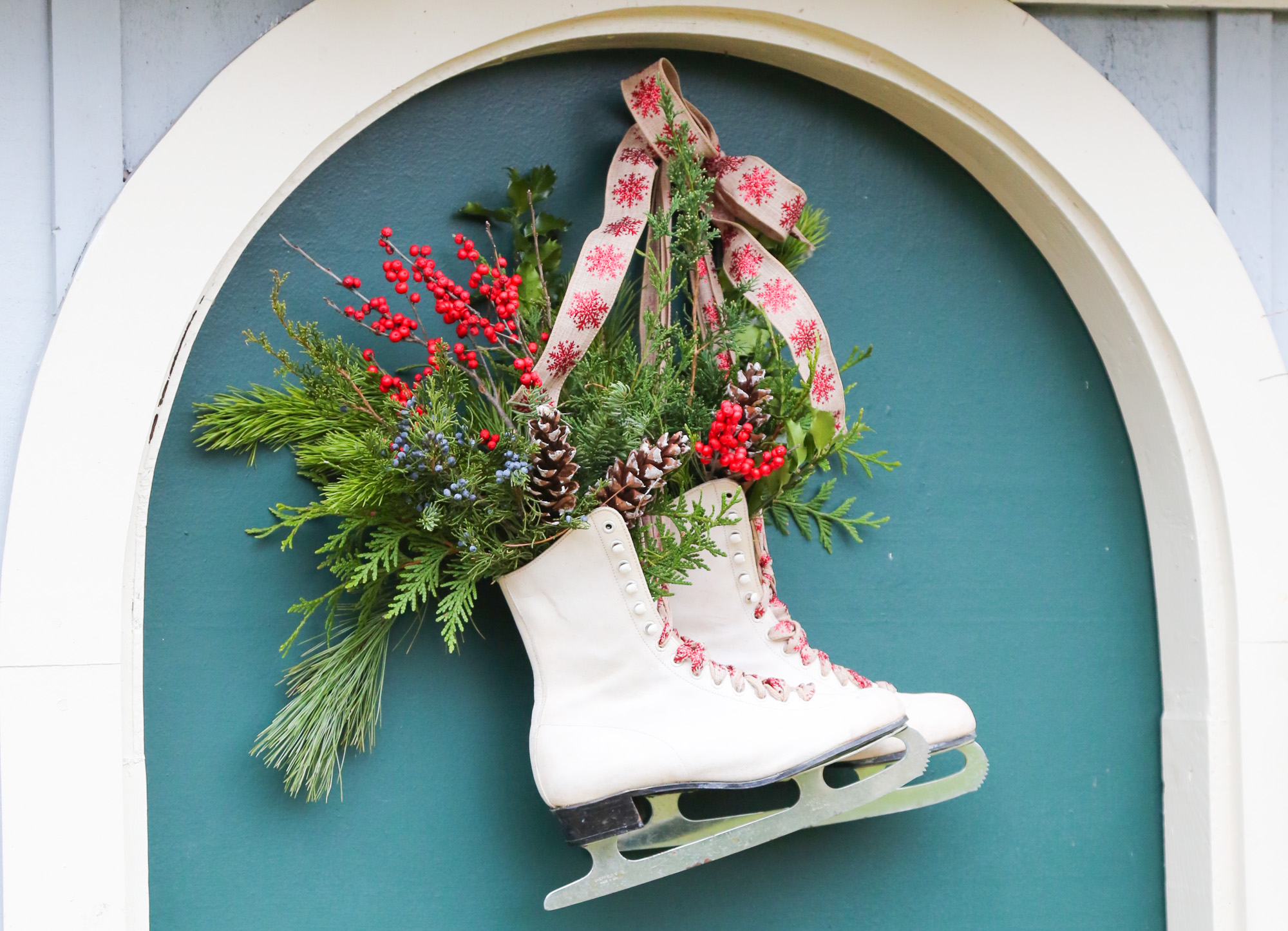 ice skates turned into wreath