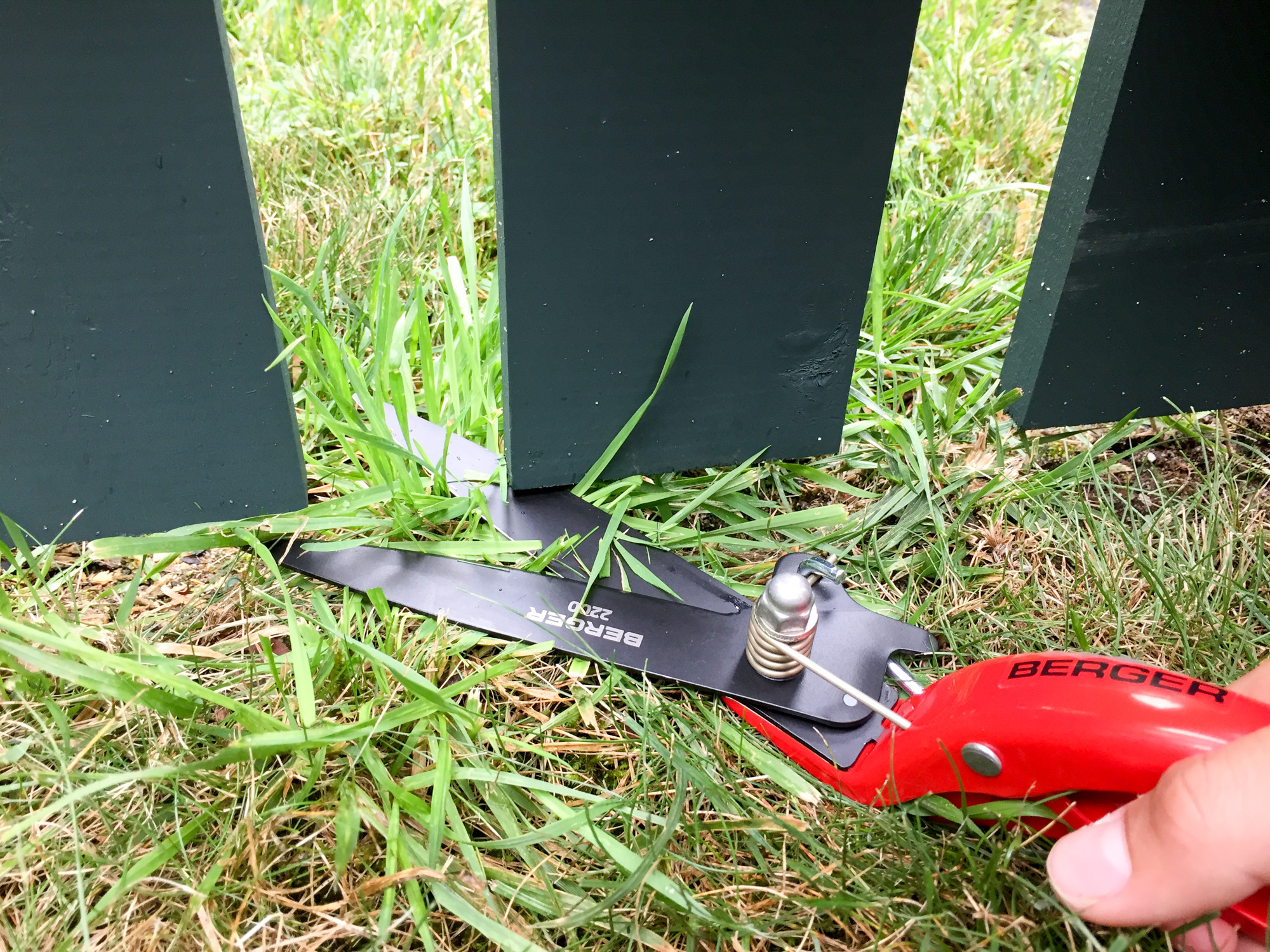 Berger Tools grass shears- preparing for a garden fence