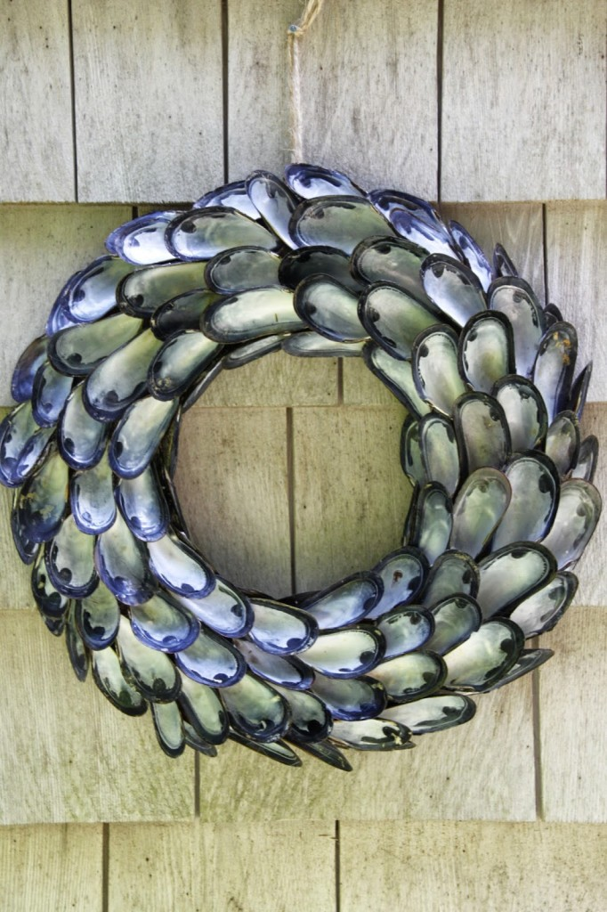 Coastal shell wreath made from mussel shells