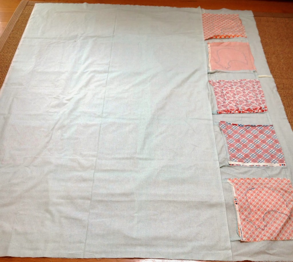 chicken quilt step four begins to take shape