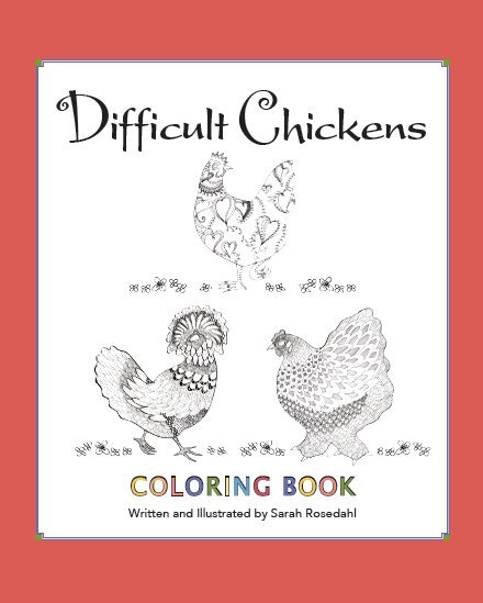 Difficult chickens coloring book